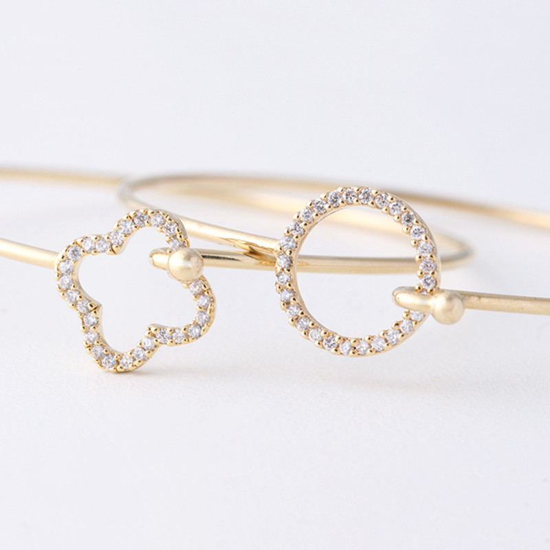 Swarovski Four Leaf Clover Cuff Bangle Gold from kellinsilver.com