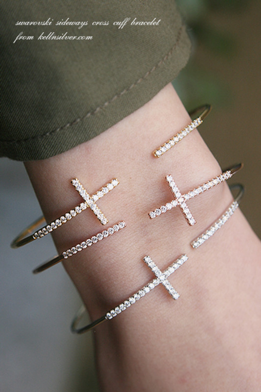Swarovski Sideways Cross Cuff White Gold from kellinsilver.com