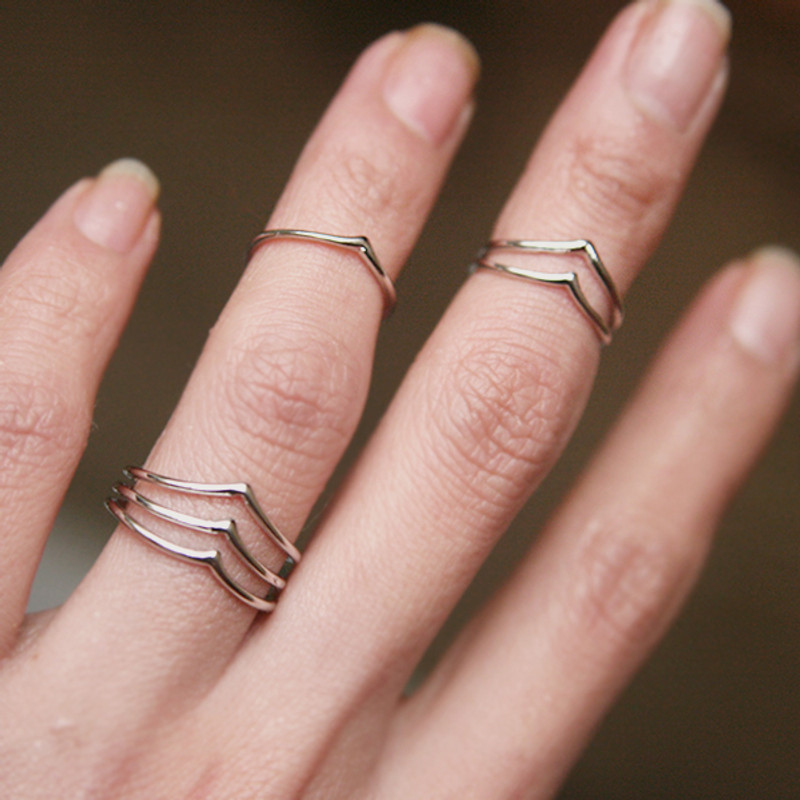 White Gold Chevron Knuckle RIngs Set of 3 from Kellinsilver.com