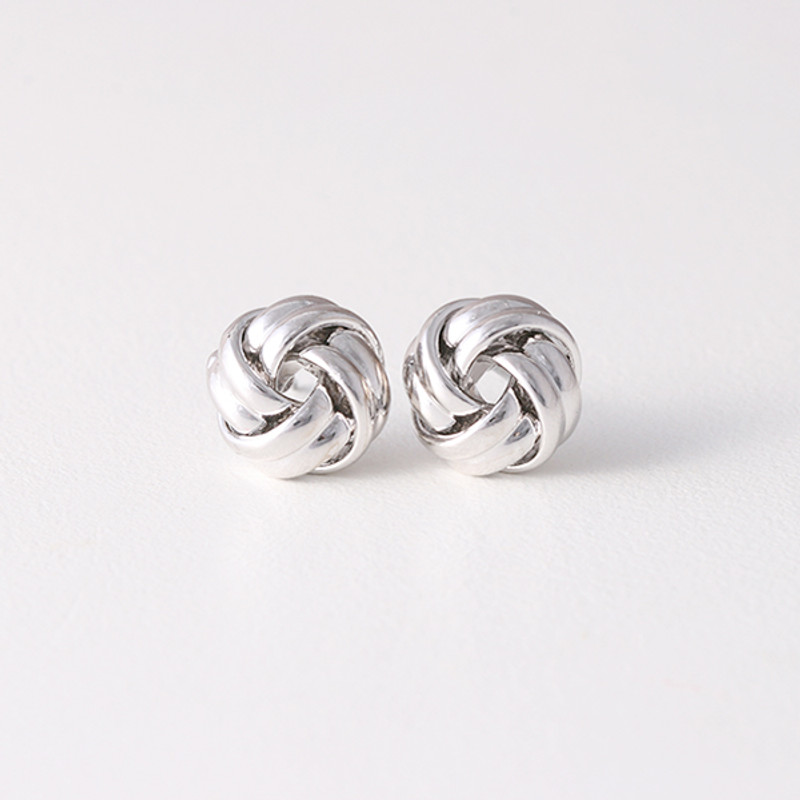 Classic White Gold Love Knot Earrings Studs Silver Post from Kellinsilver.com