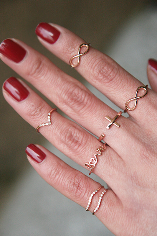 CZ Rose Gold V Midi Ring from kellinsilver.com