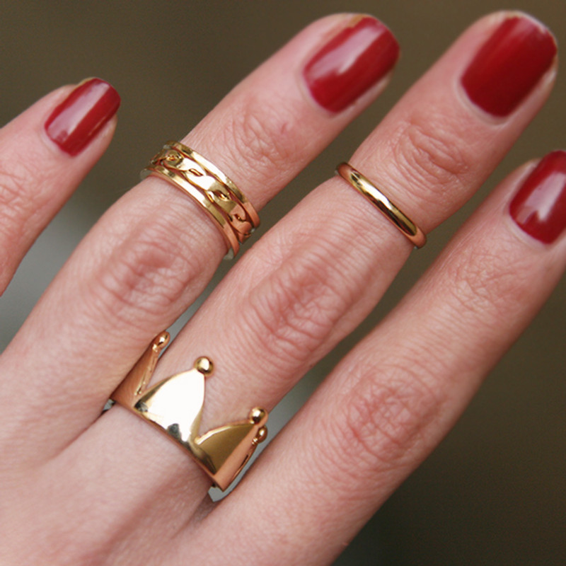 Gold Crown Midi Wrap Ring Set of 3 from kellinsilver.com