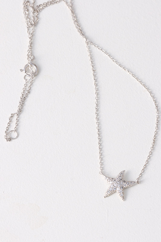 Swarovski White Gold Starfish Necklace Sterling Silver from kellinsilver.com
