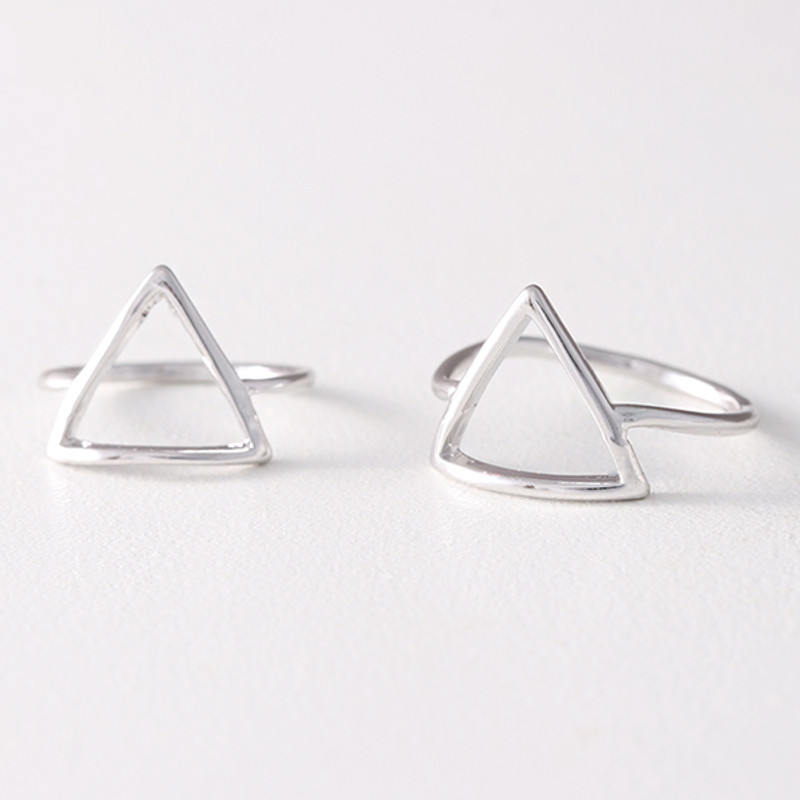 White Gold Triangle Midi Ring Set of 2 from kellinsilver.com