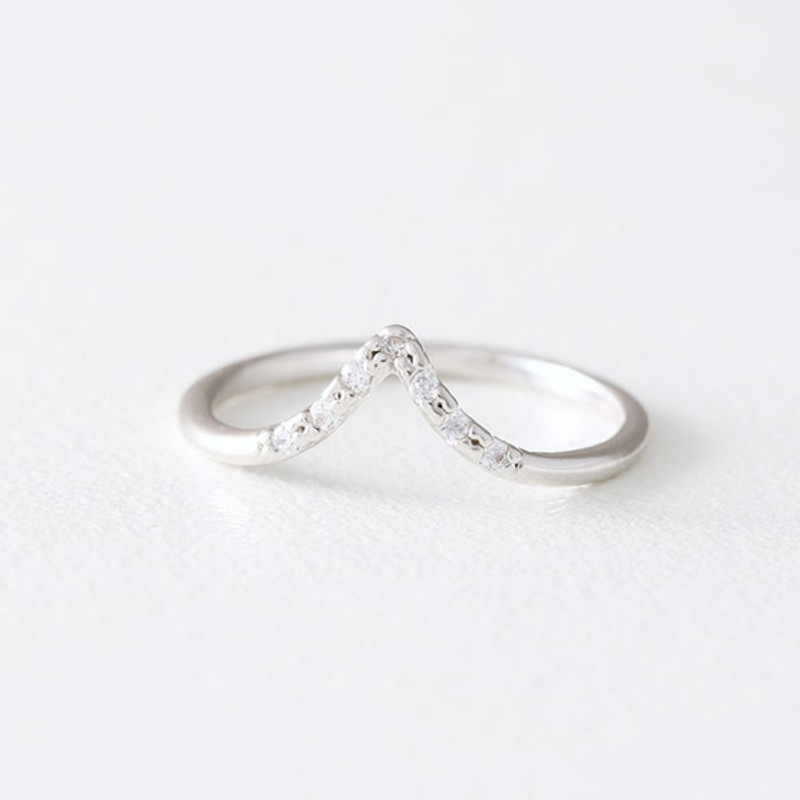 CZ White Gold V Midi Ring from kellinsilver.com