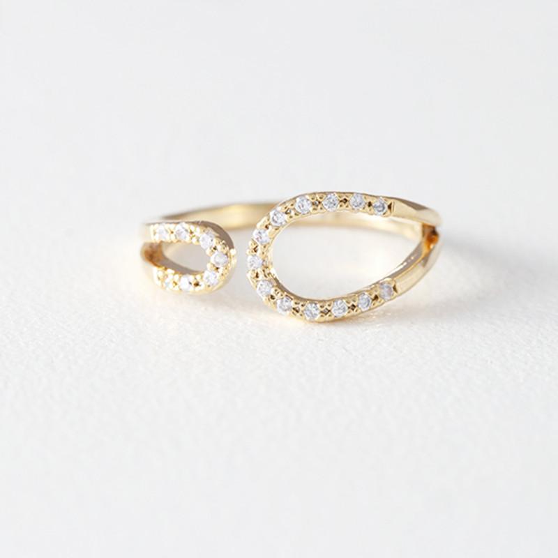 CZ Circle Embrace Midi Ring Wrap Gold from kellinsilver.com