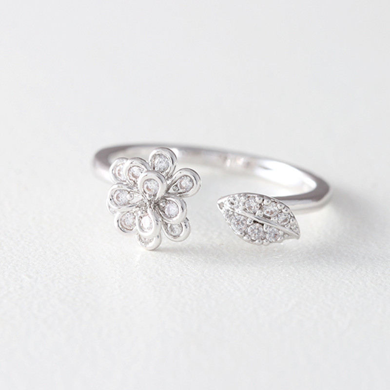 CZ White Gold Flower Wrap Ring from kellinsilver.com