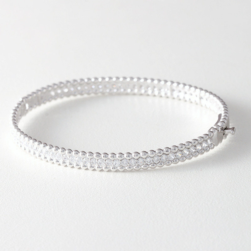 CZ Sterling Silver Perlee Bangle Bracelet White Gold from kellinsilver.com