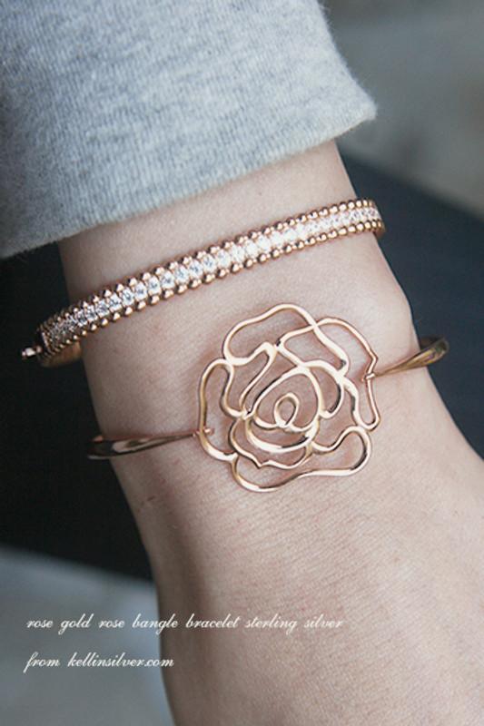CZ Sterling Silver Perlee Bangle Bracelet Rose Gold