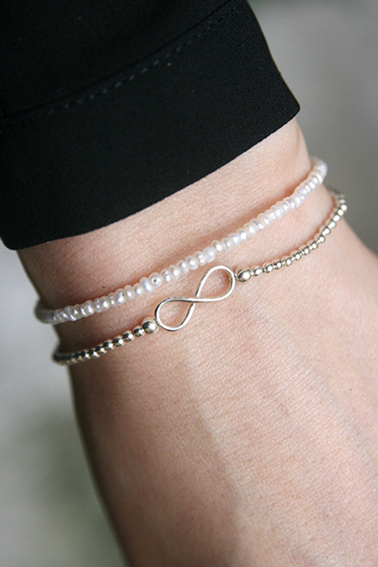 1mm Freshwater Button Pearl Bracelet Sterling Silver from kellinsilver.com