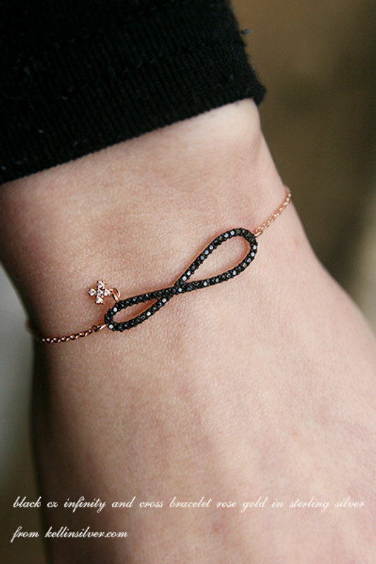 CZ Black Infinity Bracelet Rose Gold in Sterling Silver from kellinsilver.com