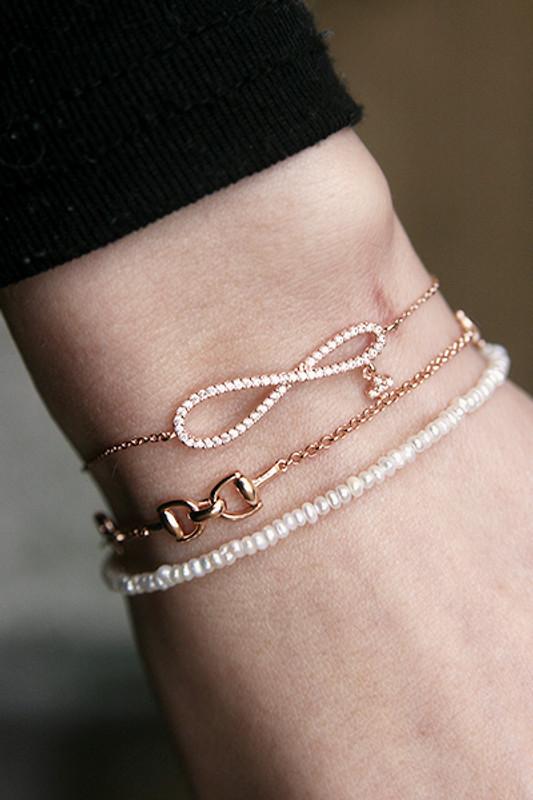 Rose Gold CZ Infinity Bracelet Sterling Silver From Kellinsilver.com