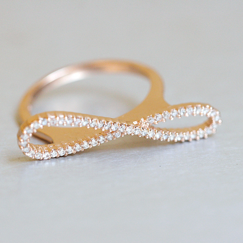 Rose Gold Pave Infinity Ring Sterling Silver from kellinsilver.com