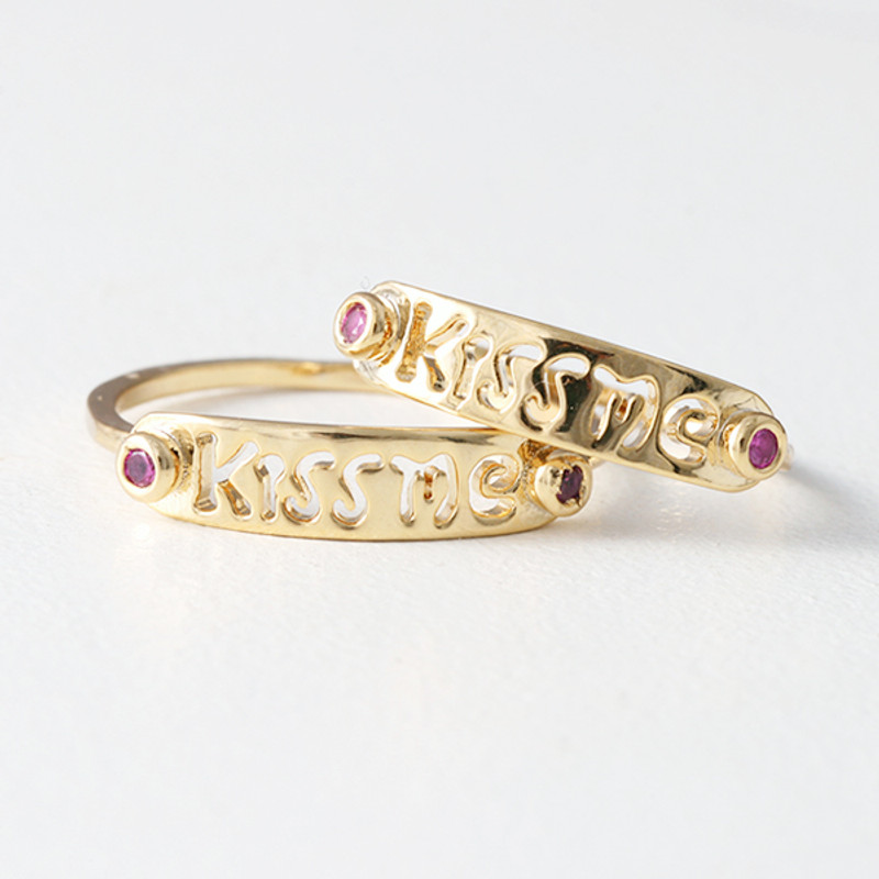 Gold Kiss Me Midi Ring Set of 2 from kellinsilver.com