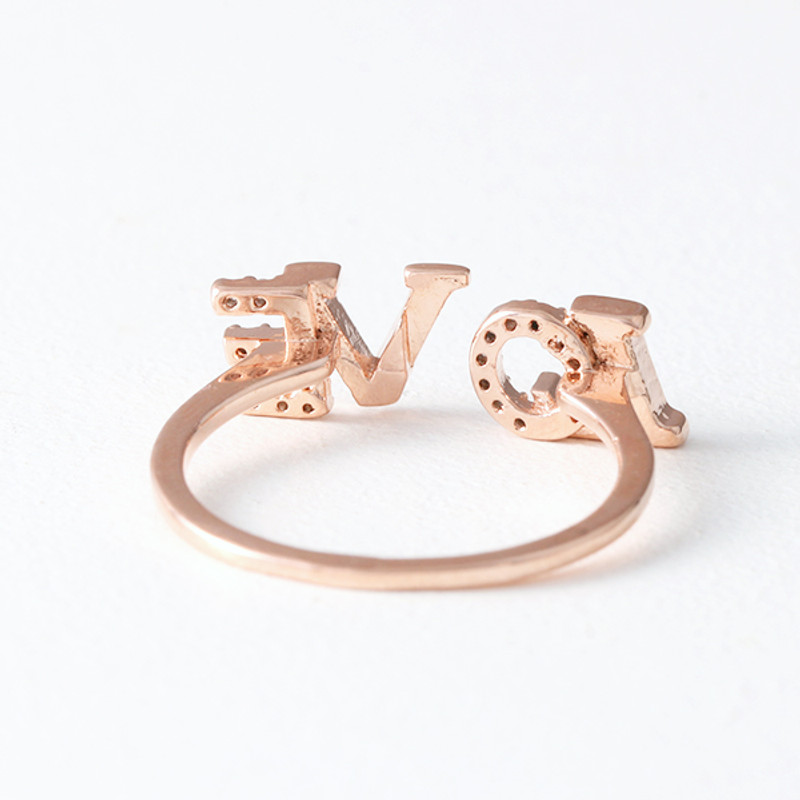CZ Sparkling Love Ring Rose Gold from kellinsilver.com