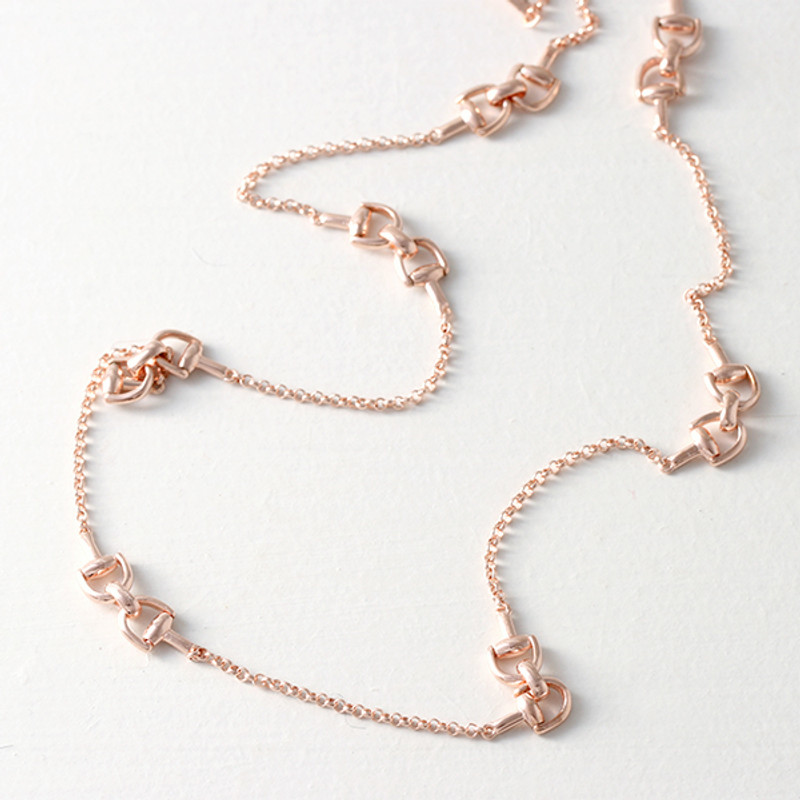 Rose Gold Horsebit Necklace in Sterling Silver from kellinsilver.com