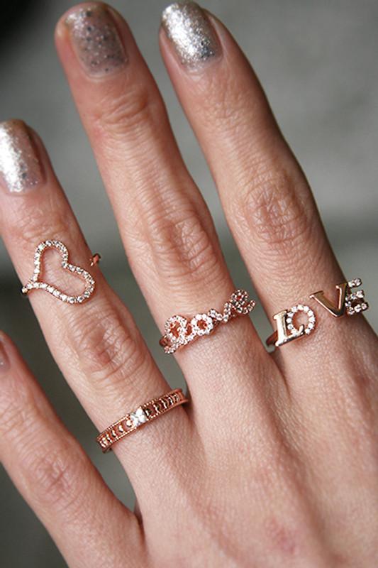 CZ Love Script Ring Rose Gold from kellinsilver.com