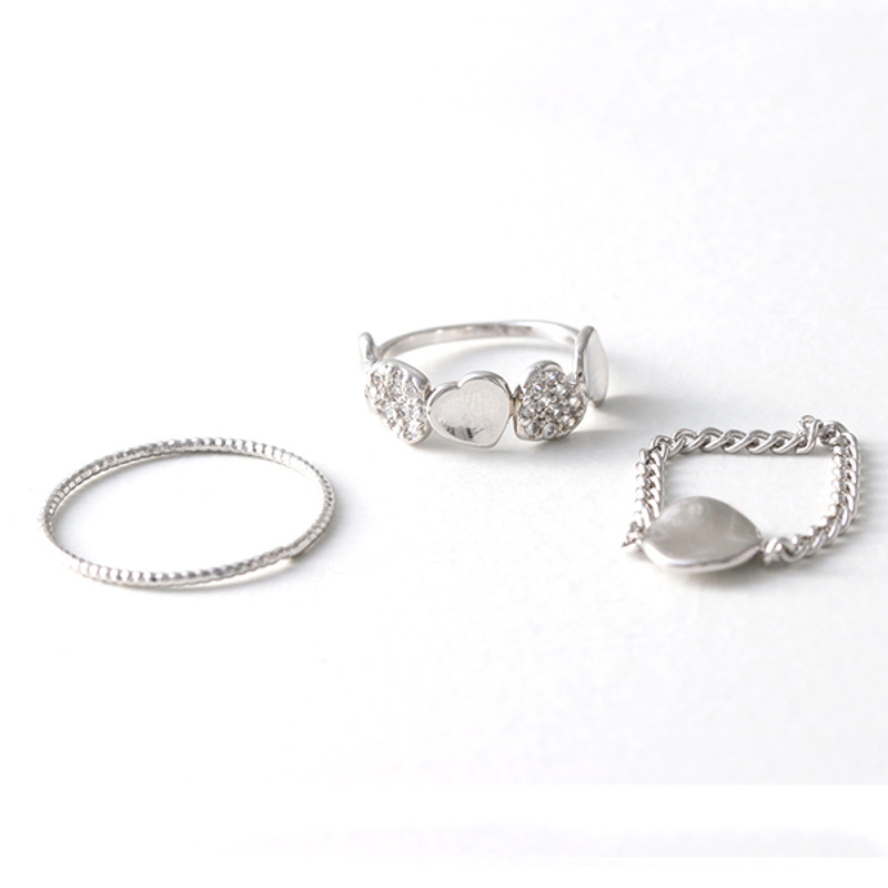 White Gold Nugget Ring Set of 3 from kellinsilver.com