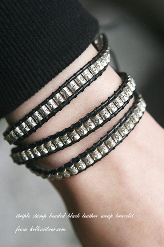 Triple Stamp Beaded Black Leather Wrap Bracelet from kellinsilver.com