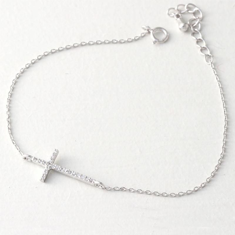 CZ White Gold Sideways Cross Bracelet Sterling Silver from kellinsilver.com