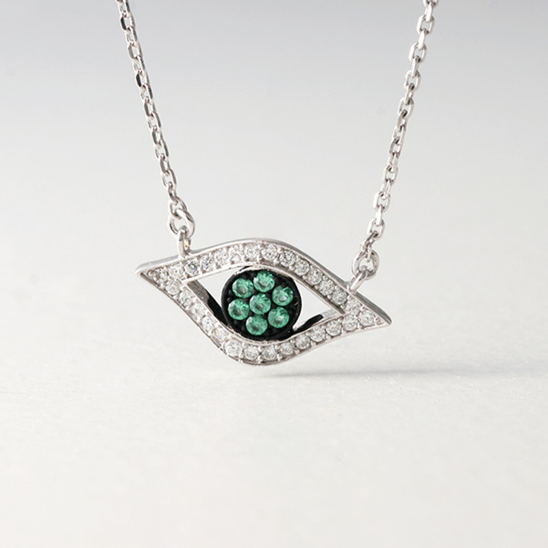 Green CZ Evil Eye Necklace Sterling Silver from kellinsilver.com