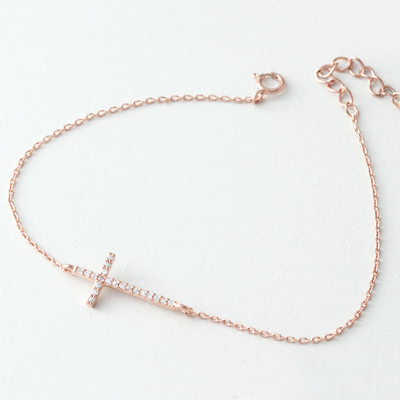 CZ Rose Gold Sideways Cross Bracelet Sterling Silver from kellinsilver.com