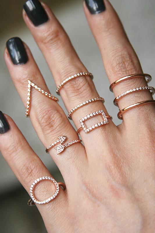 CZ Rose Gold V Knuckle Ring from kellinsilver.com