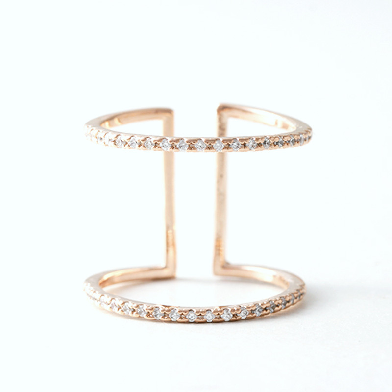 CZ Rose Gold Spacer Ring Wrap from kellinsilver.com