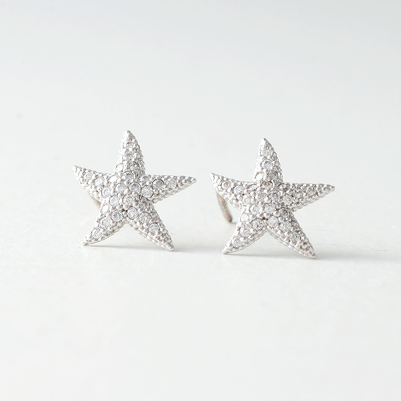 Swarovski White Gold Starfish Earrings Studs from kellinsilver.com