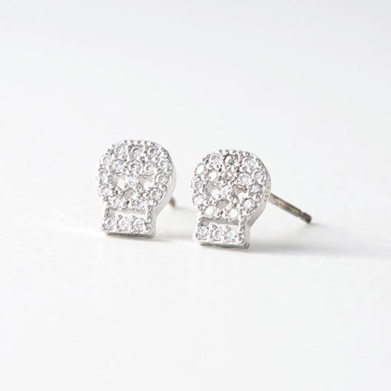 Swarovski White Gold Small Skull Stud Earrings