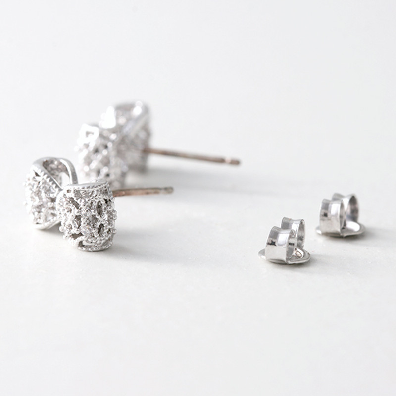 CZ 3D Filligree Bow Stud Earrings White Gold