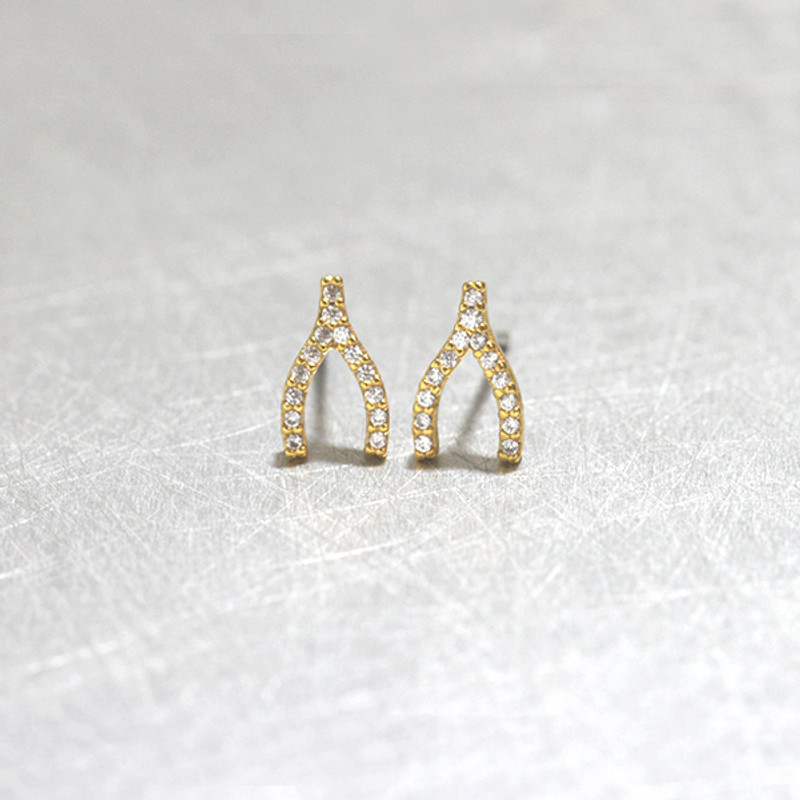 Swarovski Gold Small Wishbone Studs Earrings from kellinsilver.com