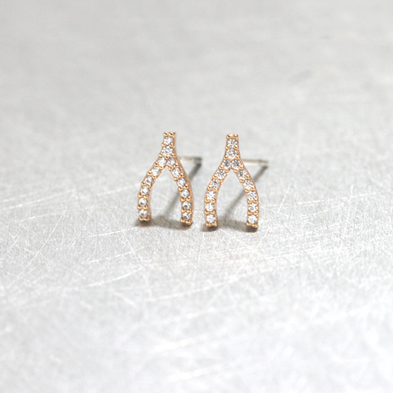 Swarovski Rose Gold Small Wishbone Studs Earrings from kellinsilver.com