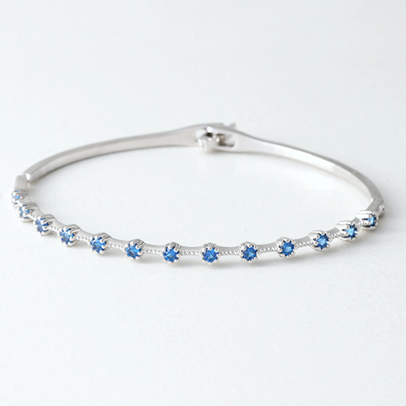 Swarovski Sapphire Delicate Bangle Whire Gold from kellinsilver.com