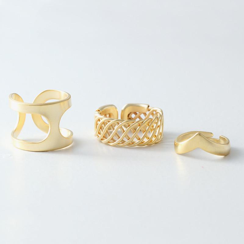 Matt Gold Calypso Free Size Rings Set of 3 from kellinsilver.com