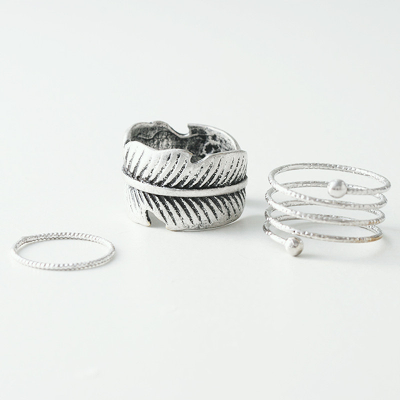 Oxidized Feather Wrap Ring Set of 3 from kellinsilver.com