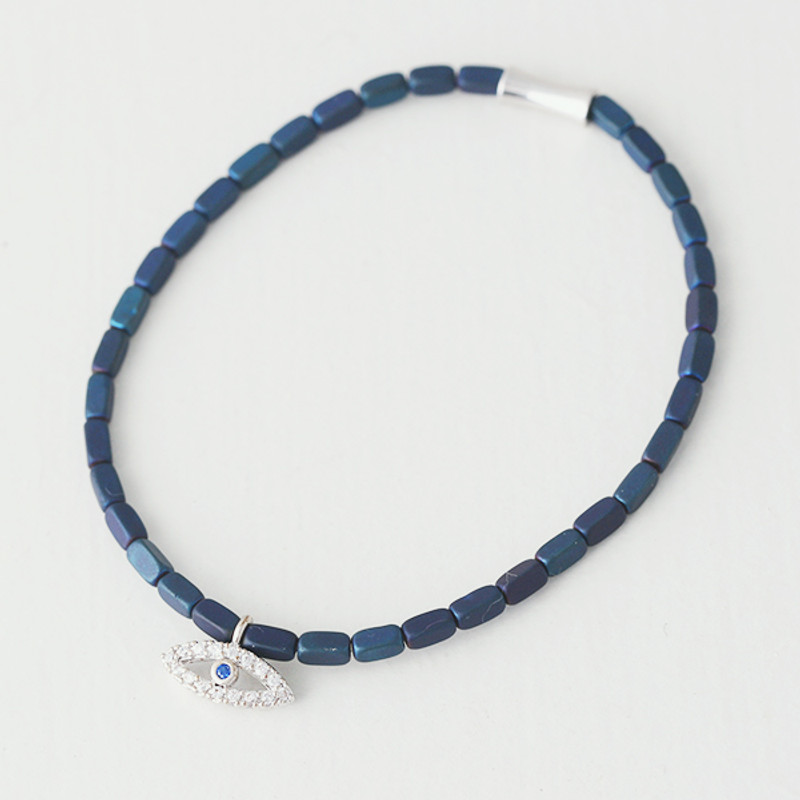Navy Bead White Gold Evil Eye Bracelet from kellinsilver.com