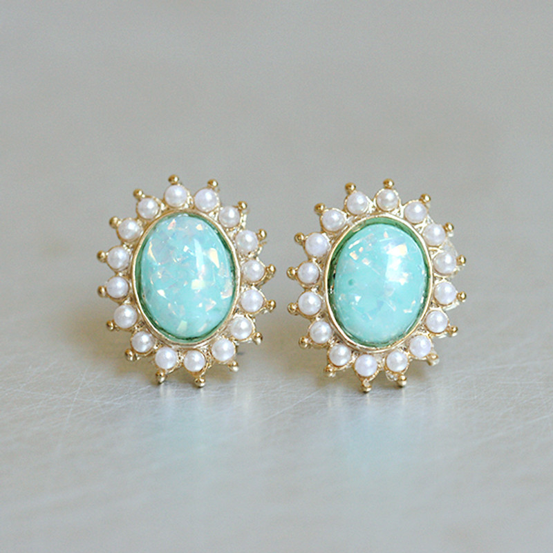 Small Oval Mint Opal Studs Gold from kellinsilver.com