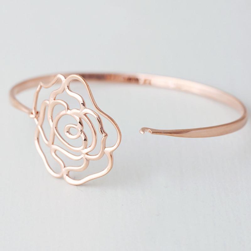 Rose Gold Rose Bangle Bracelet Sterling Silver from kellinsilver.com