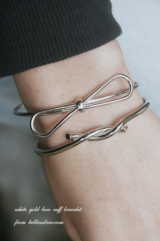White Gold Bow Cuff Bracelet from kellinsilver.com