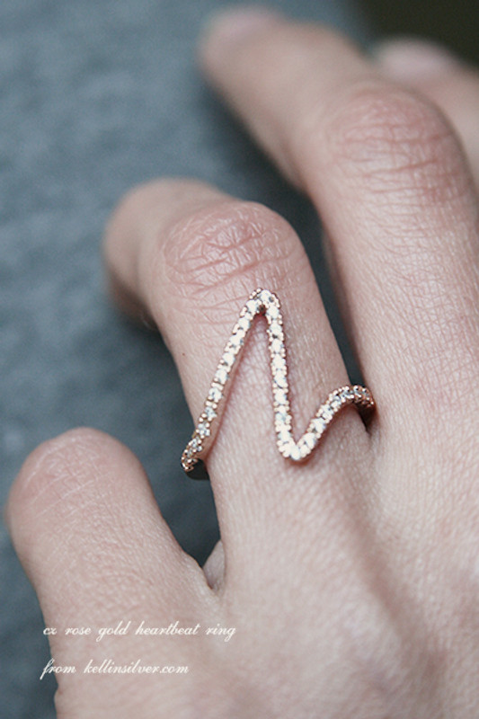 CZ Rose Gold Heartbeat Ring