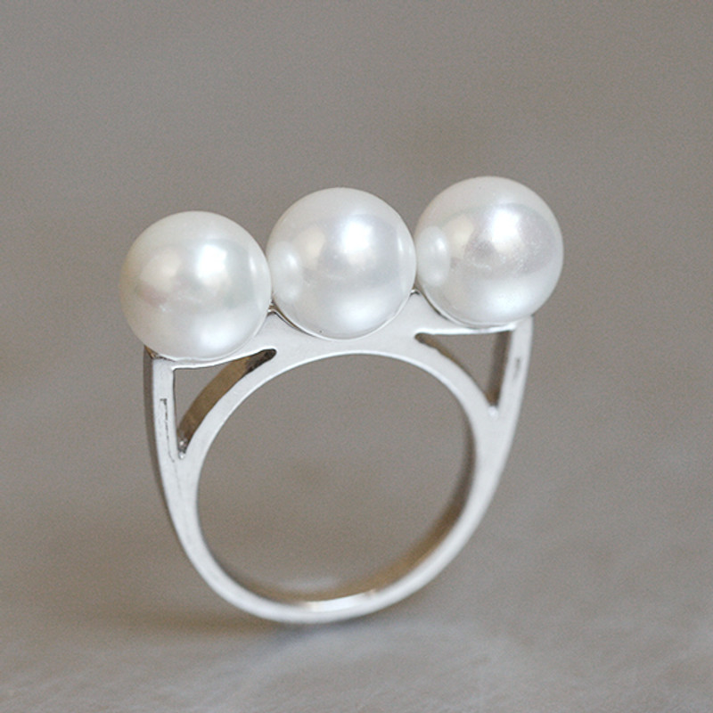 Three Shell Pearl Bar Ring Sterling Silver from kellinsilver.com
