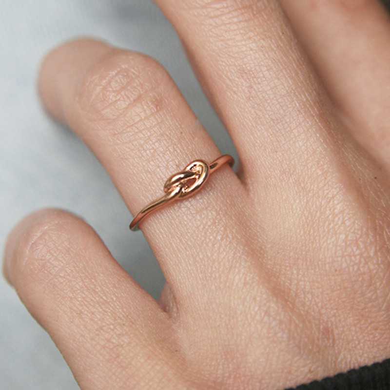 Thin Love Knot Ring Rose Gold Promise Ring from kellinsilver.com