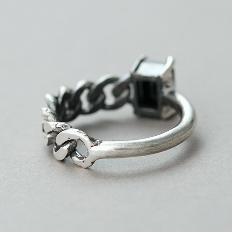 Oxidized Black CZ Asymmetric Chain Ring Sterling Silver from kellinsilver.com