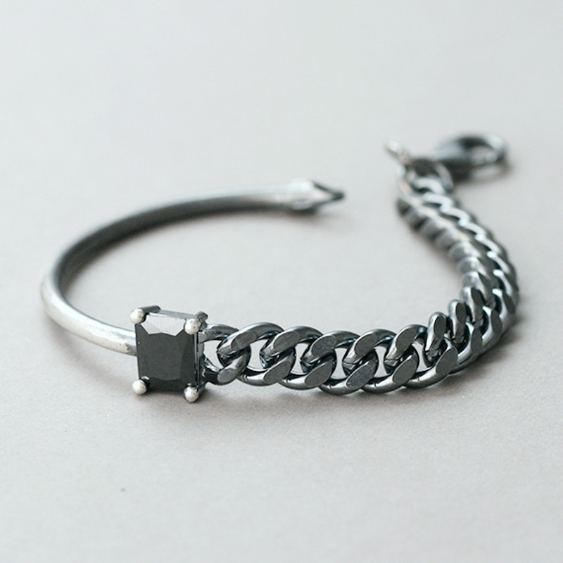 Black CZ Oxidized Sterling Silver Asymmetric Chain Bracelet from kellinsilver.com