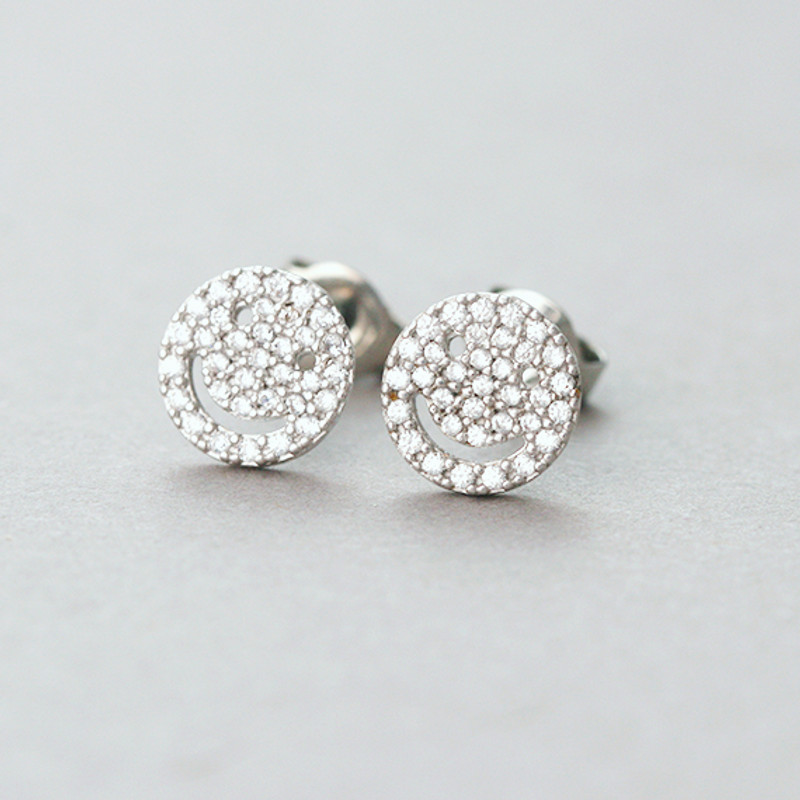 Micro Pave Swarovski Tiny Smile Stud Earrings White Gold from kellinsilver.com