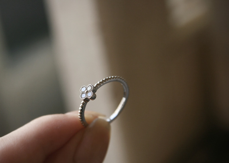 Sterling Silver CZ Clover Ring