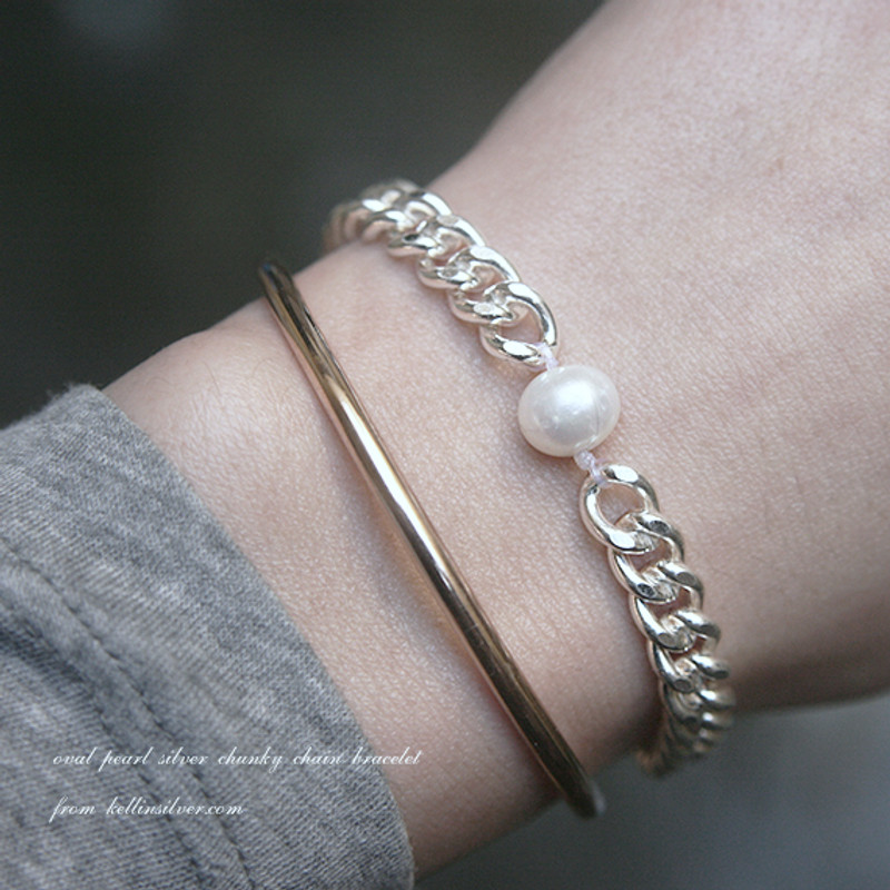 Handcrafted Oval Pearl Chunky Silver Chain Bracelet from kellinsilver.com