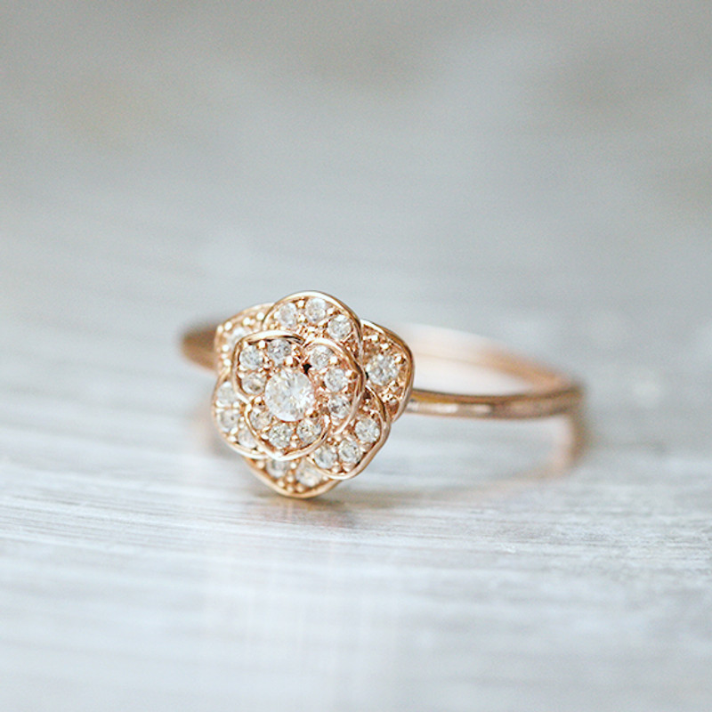 CZ Rose Gold Rose Ring Sterling Silver from kellinsilver.com