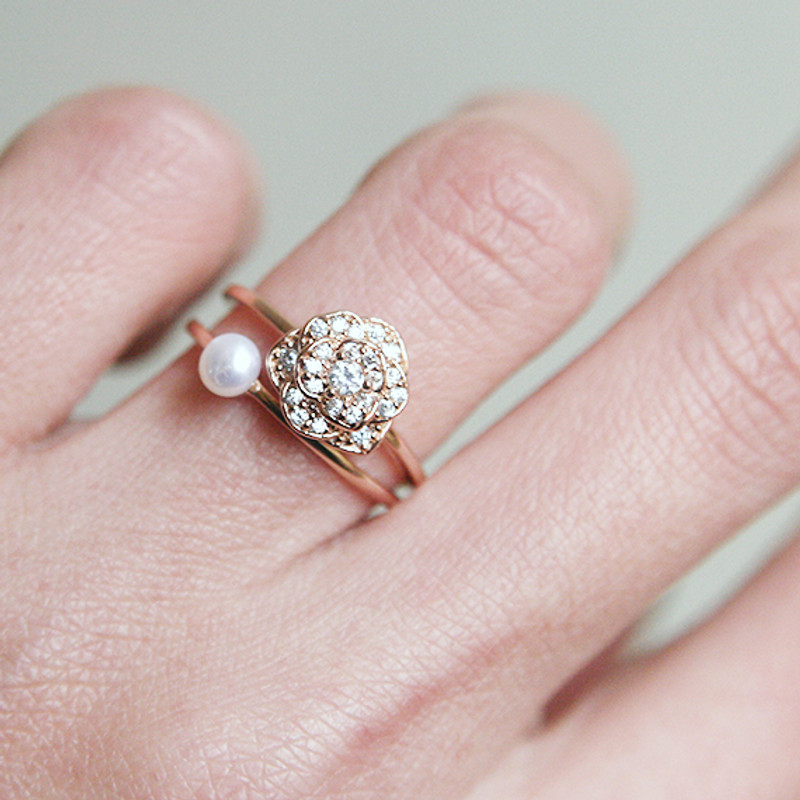 CZ Rose Gold Rose Ring Sterling Silver